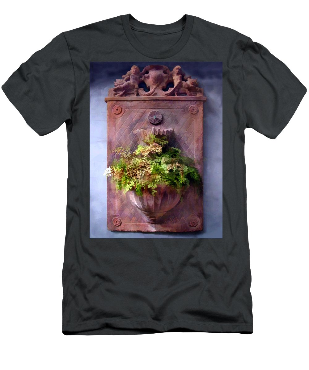 Men's T-Shirt (Athletic Fit) featuring the painting Fern In Antique Wall Planter by Elaine Plesser