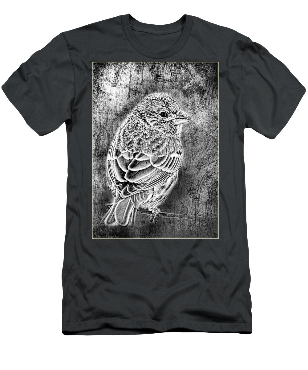 Nature T-Shirt featuring the photograph Finch Grungy Black And White by Debbie Portwood