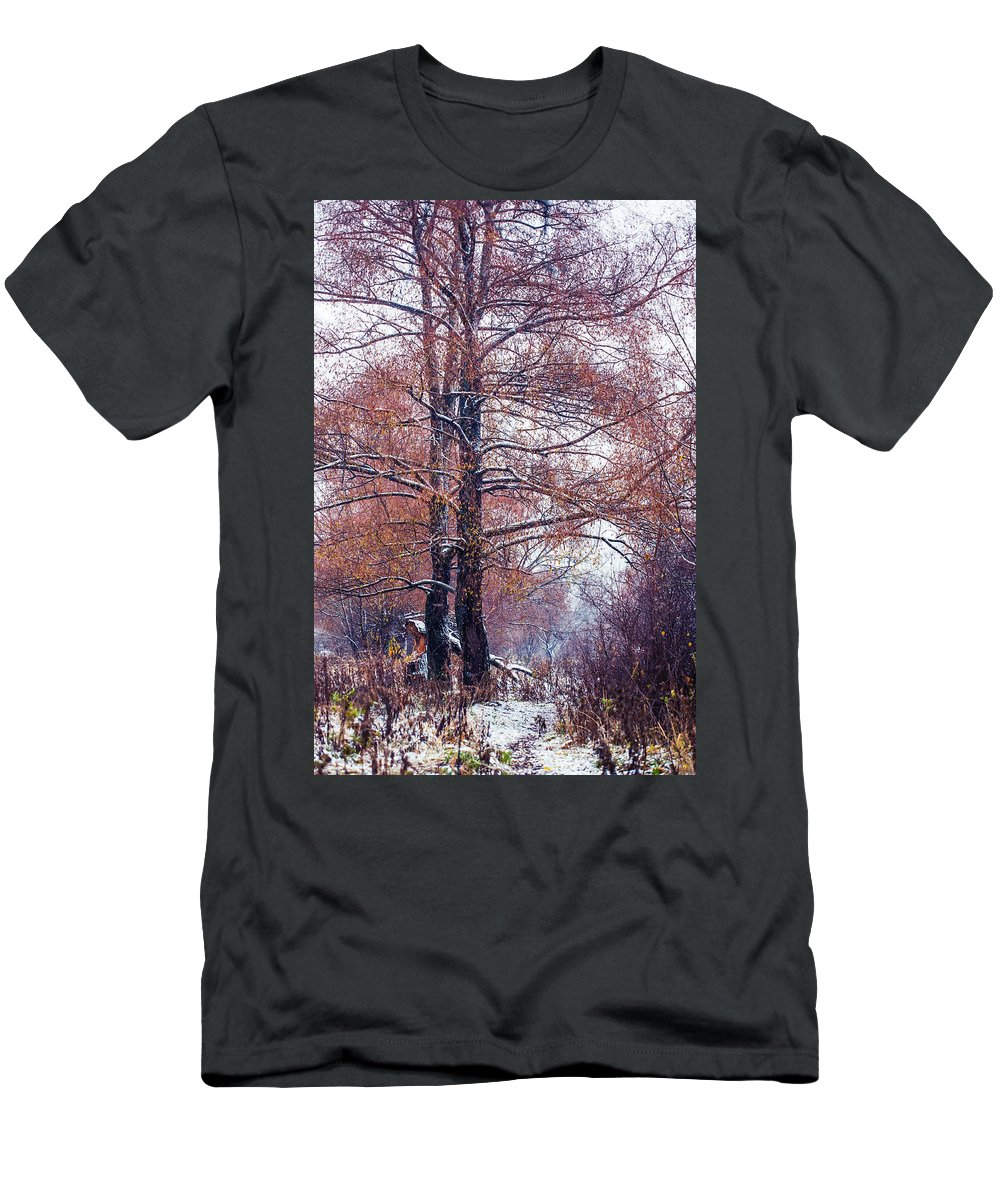 Snow Men's T-Shirt (Athletic Fit) featuring the photograph First Snow. Winter Coming by Jenny Rainbow