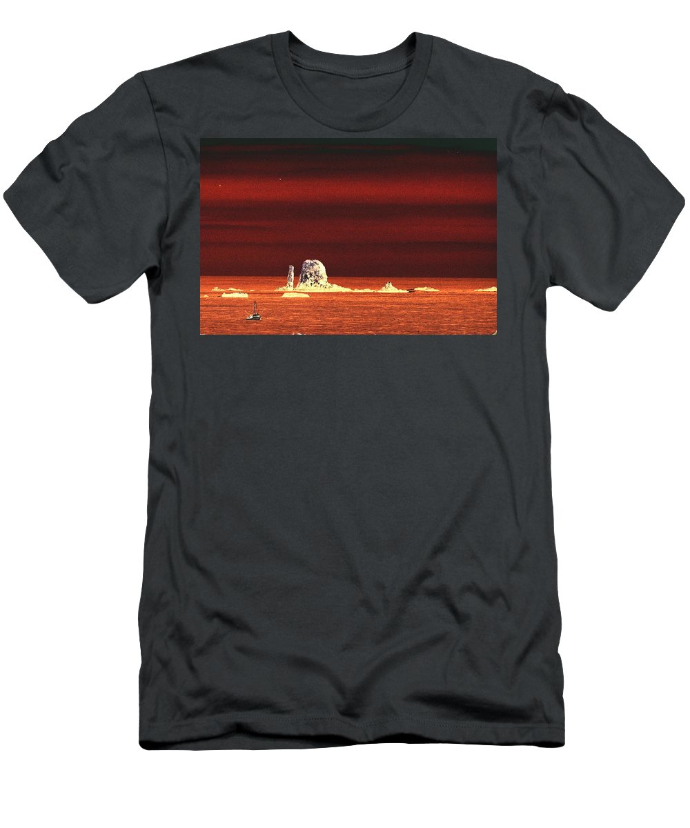 Ocean Men's T-Shirt (Athletic Fit) featuring the photograph Fishing Boat By Sea Stacks by One Rude Dawg Orcutt