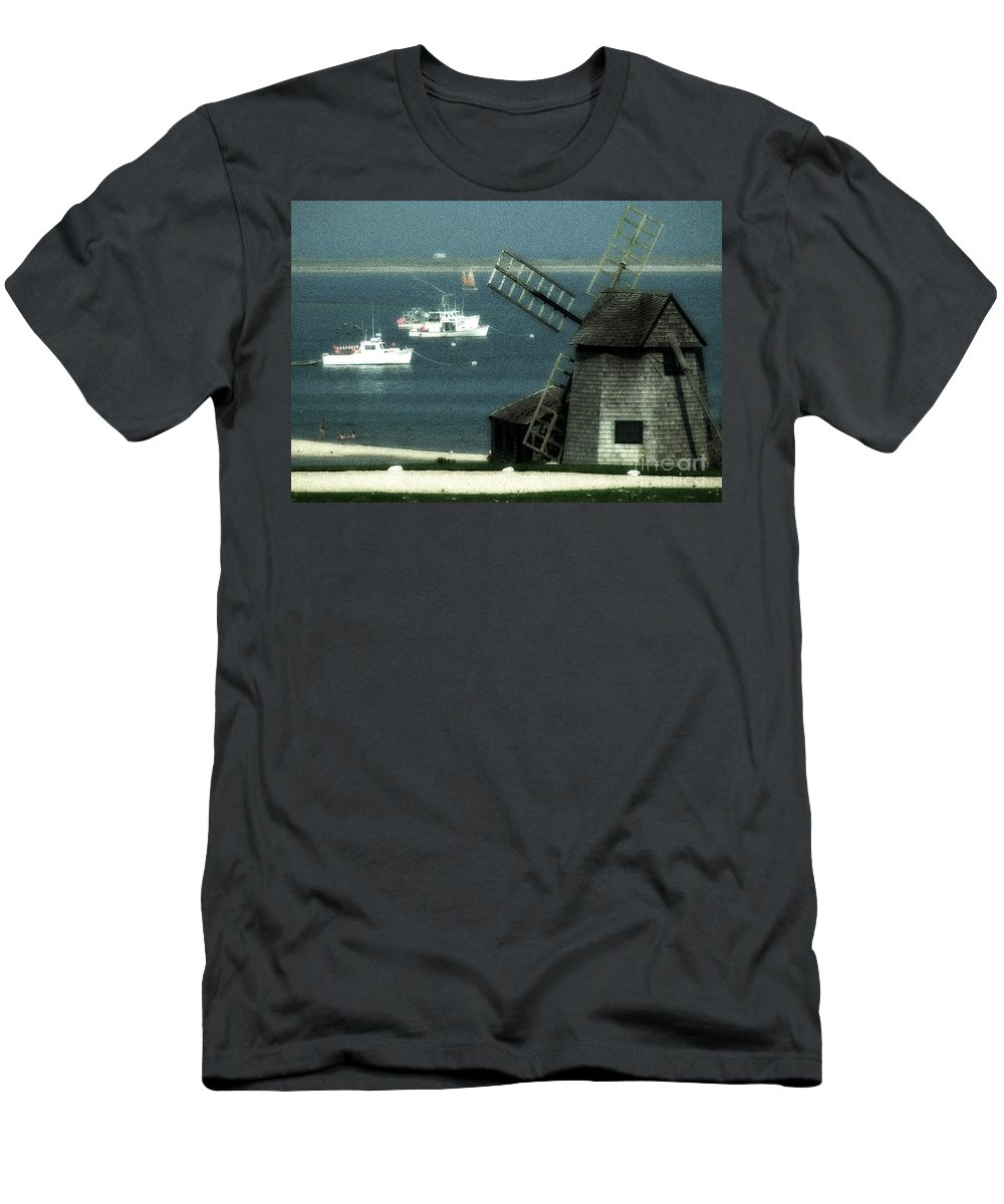 Fishing Boats Men's T-Shirt (Athletic Fit) featuring the photograph Fishing Boats And Windmill In Chatham On Cape Cod Massachusetts by Matt Suess