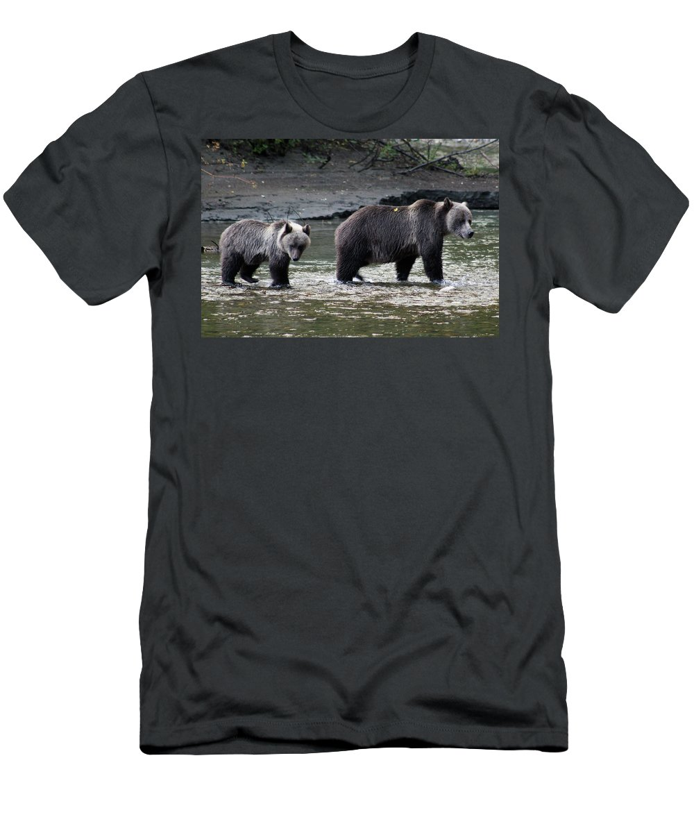 Grizzly Men's T-Shirt (Athletic Fit) featuring the photograph Fishing Lessons by Cathie Douglas