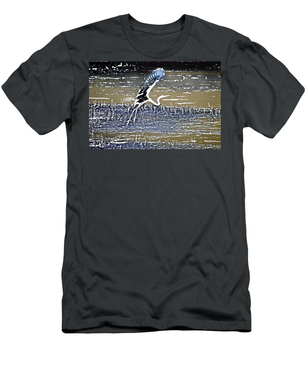 Egret Men's T-Shirt (Athletic Fit) featuring the photograph Flight Of The Egret V5 by Douglas Barnard