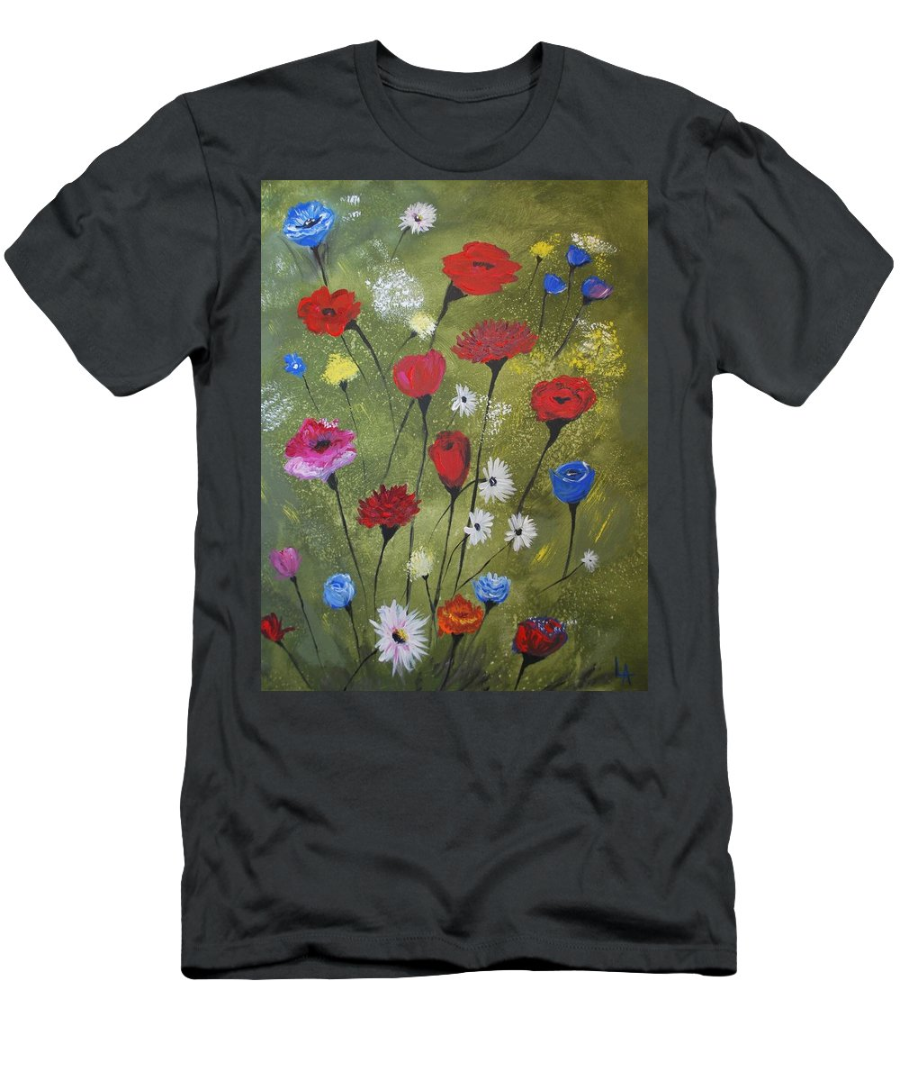 Poppy Painting Men's T-Shirt (Athletic Fit) featuring the painting Floral Fields by Leslie Allen