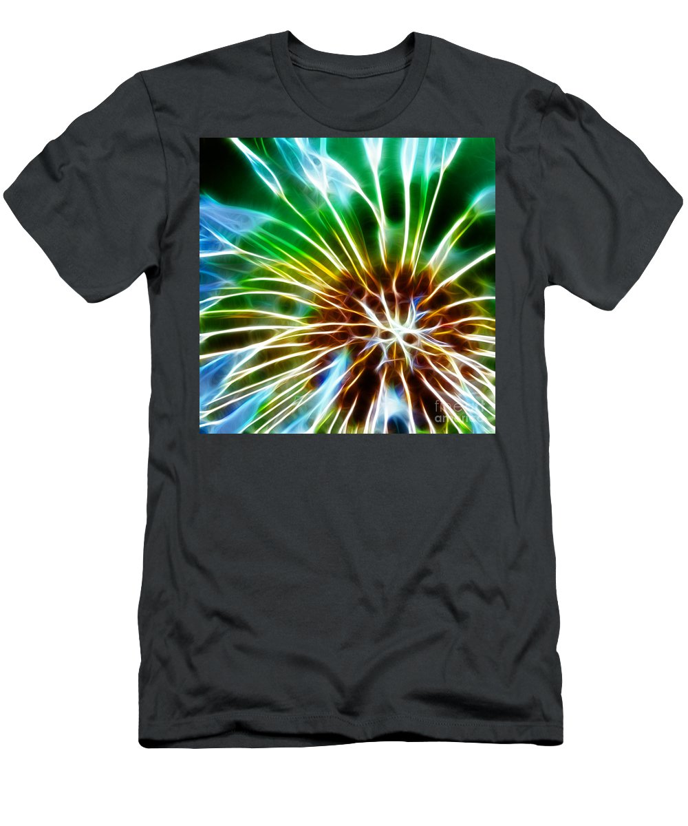 Abstract Men's T-Shirt (Athletic Fit) featuring the photograph Flower - Dandelion Tears - Abstract by Paul Ward