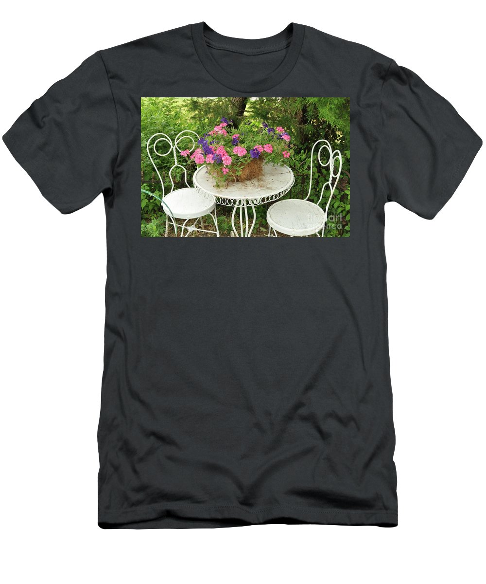 Flower Pots Men's T-Shirt (Athletic Fit) featuring the photograph Flower Pot 4 by Allen Beatty