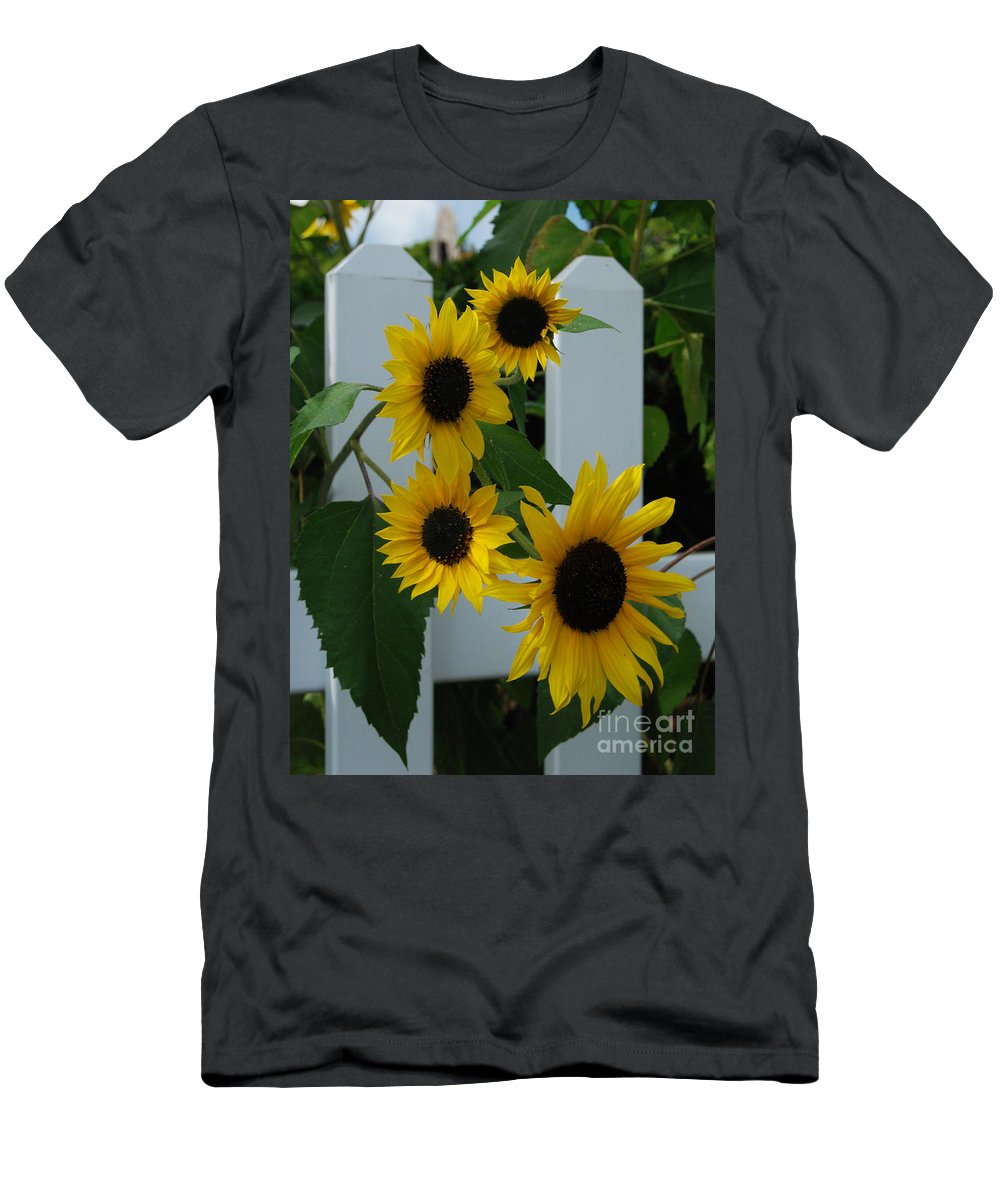 Sunflowers Men's T-Shirt (Athletic Fit) featuring the photograph Flowers On A Fence by Grace Grogan