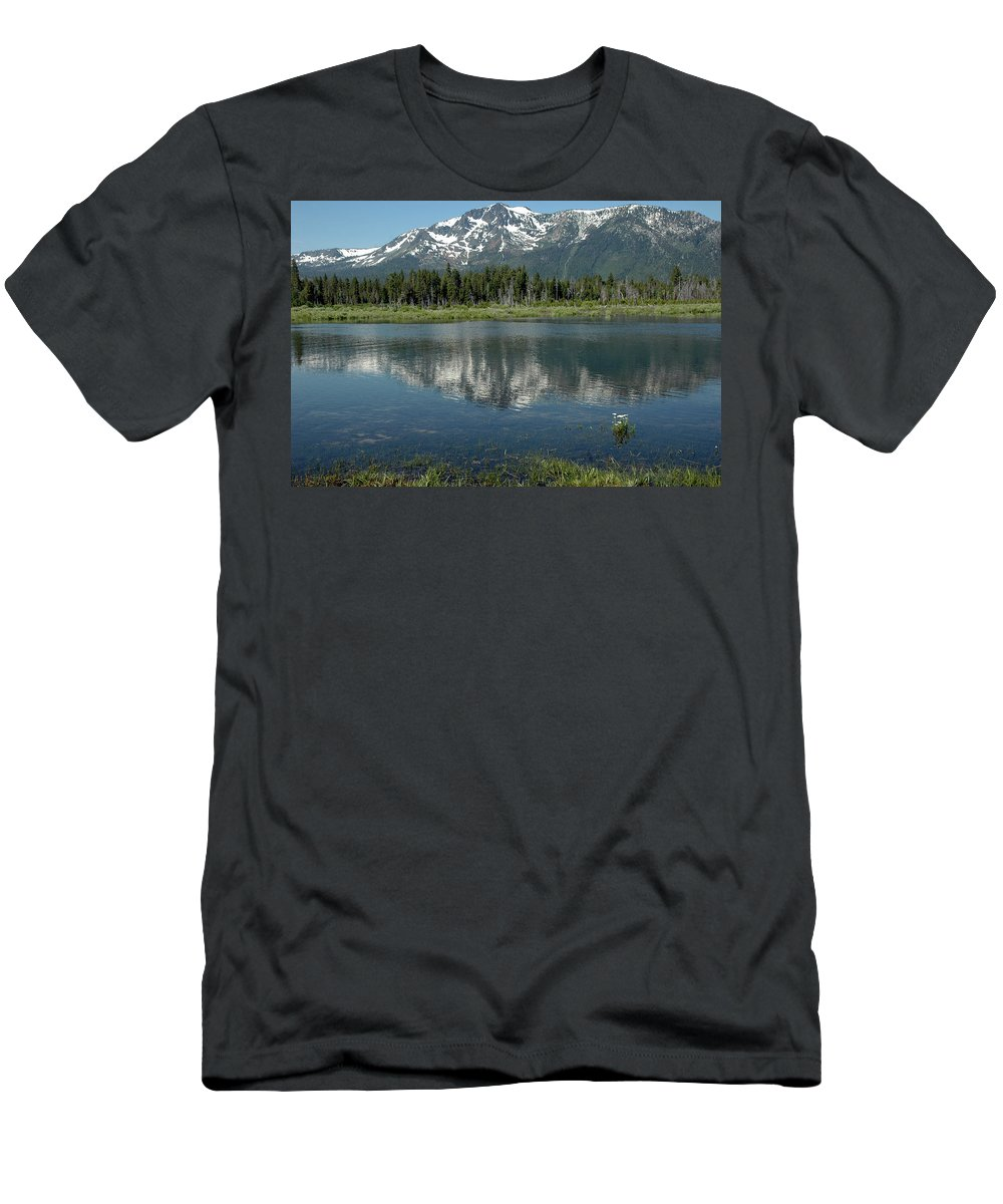Usa Men's T-Shirt (Athletic Fit) featuring the photograph Flowers On The Lake by LeeAnn McLaneGoetz McLaneGoetzStudioLLCcom