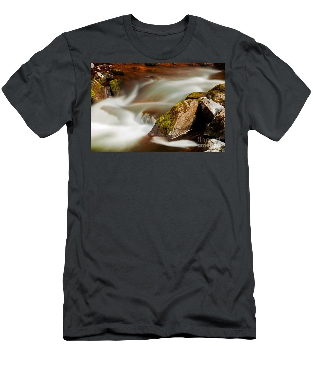 River Men's T-Shirt (Athletic Fit) featuring the photograph Flowing River Blurred Through Rocks by Simon Bratt Photography LRPS