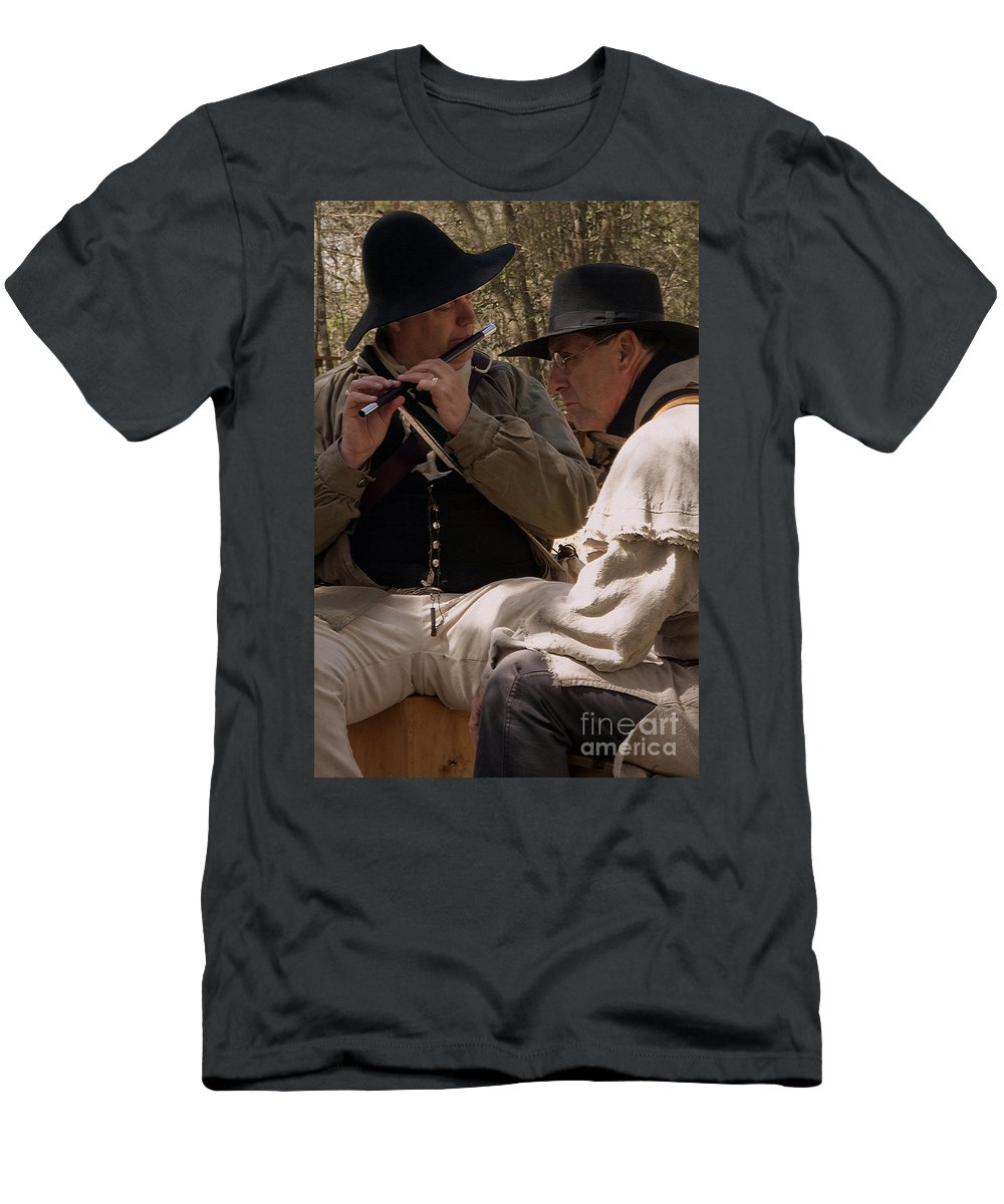 Reenactments Men's T-Shirt (Athletic Fit) featuring the photograph Flute Melody by Kim Henderson