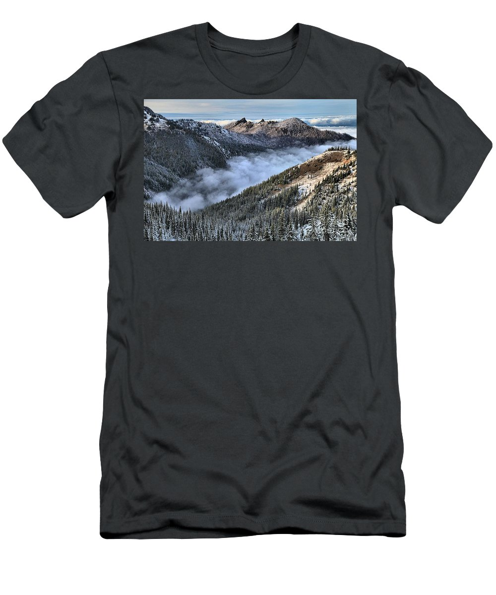 Hurricane Ridge Men's T-Shirt (Athletic Fit) featuring the photograph Fog Below Hurricane by Adam Jewell