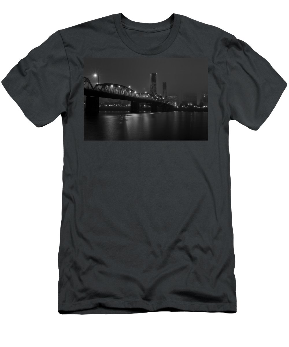 Foggy Portland Night Men's T-Shirt (Athletic Fit) featuring the photograph Foggy Portland Night by Wes and Dotty Weber