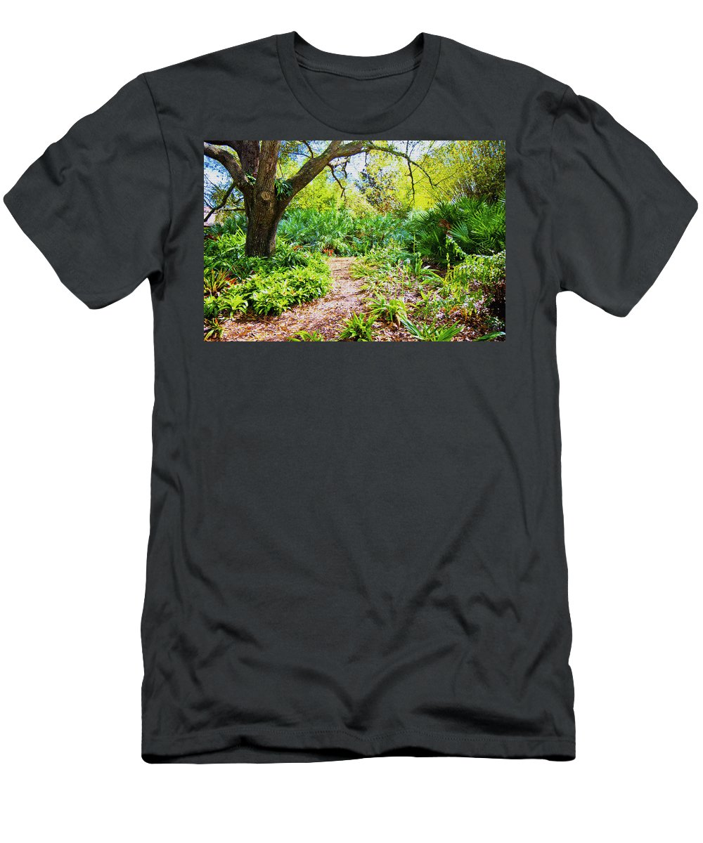 Trees Men's T-Shirt (Athletic Fit) featuring the digital art Follow The Path by Betsy Knapp