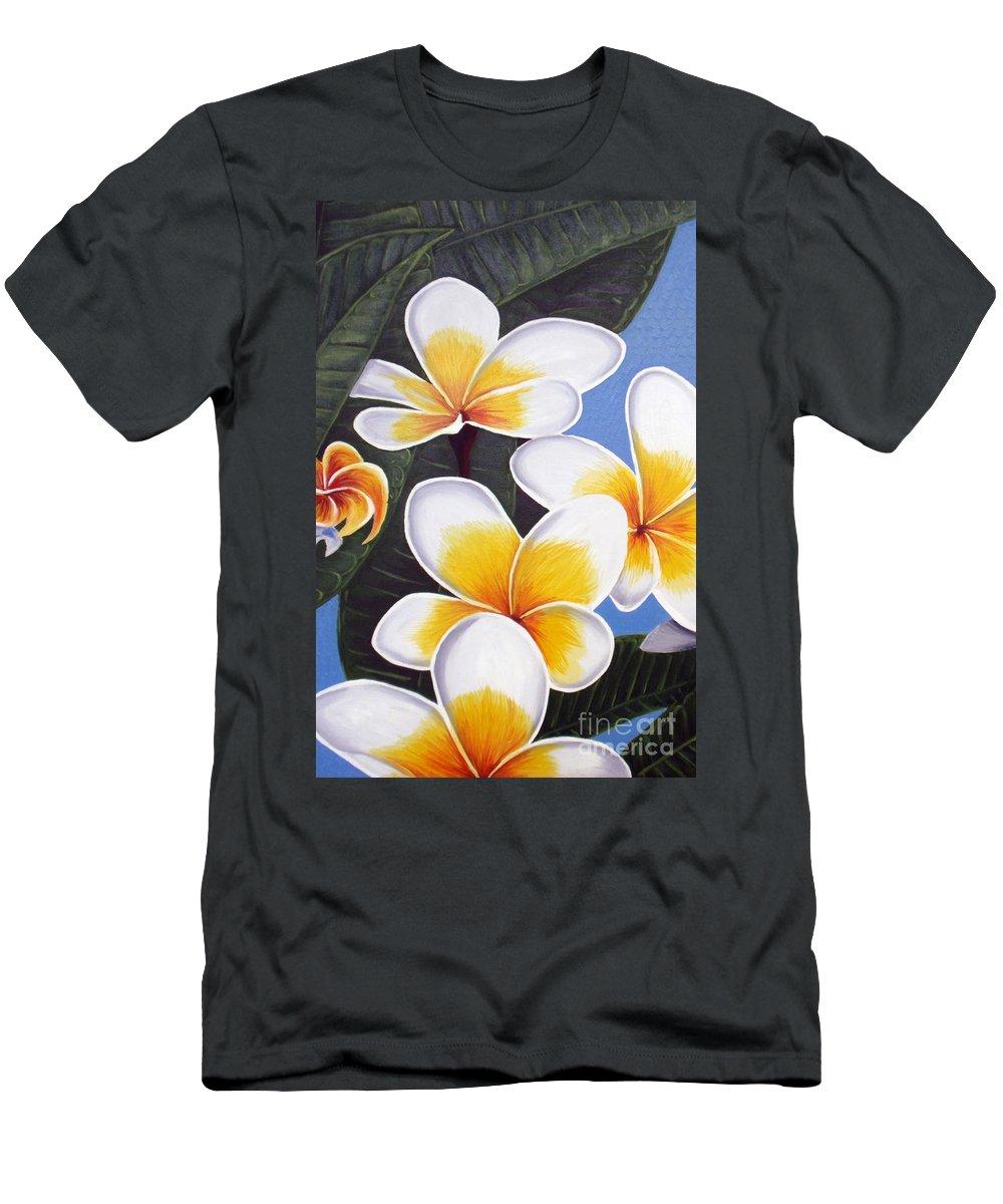 Oil Painting Men's T-Shirt (Athletic Fit) featuring the painting Frangipani I by Tatjana Popovska