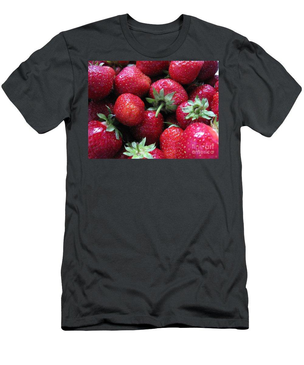 Garden Men's T-Shirt (Athletic Fit) featuring the photograph Fresh Strawberries by Ausra Huntington nee Paulauskaite