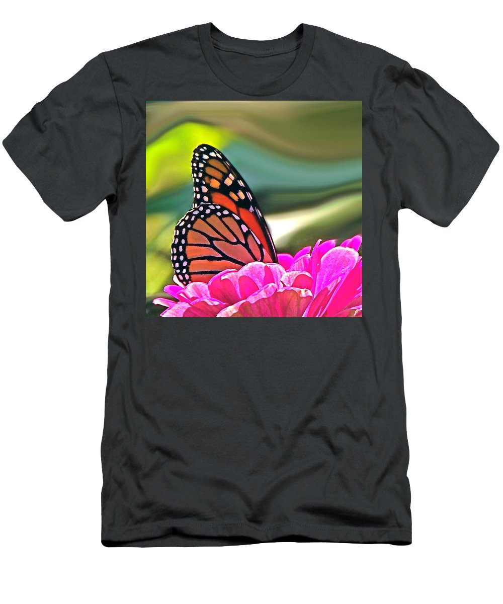 Nature Abstract Men's T-Shirt (Athletic Fit) featuring the photograph Fueling Up To Ride The Wind by Byron Varvarigos
