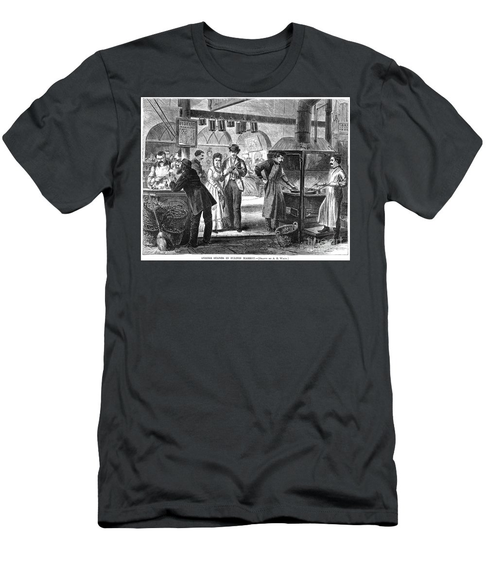 1870 Men's T-Shirt (Athletic Fit) featuring the photograph Fulton Fish Market, 1870 by Granger
