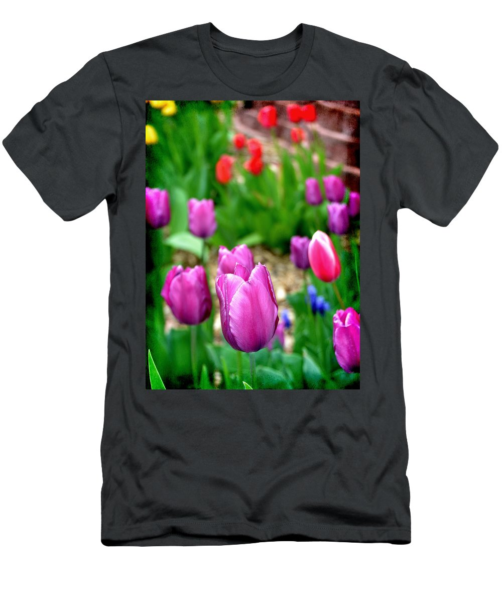 Multicolored Men's T-Shirt (Athletic Fit) featuring the photograph Gardening by Angelina Vick