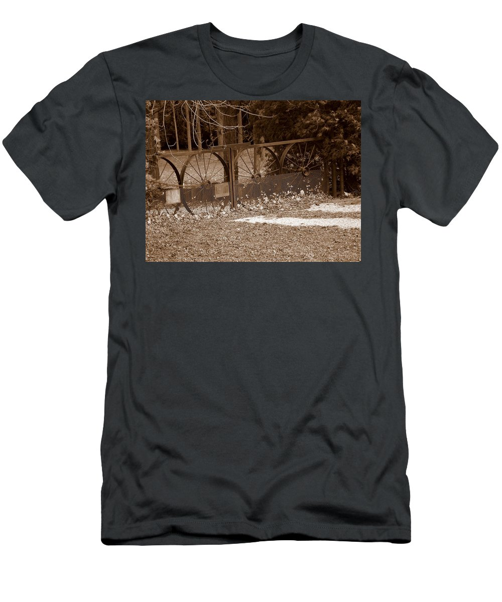 Iron Men's T-Shirt (Athletic Fit) featuring the photograph Gate To The Past by Shelley Blair