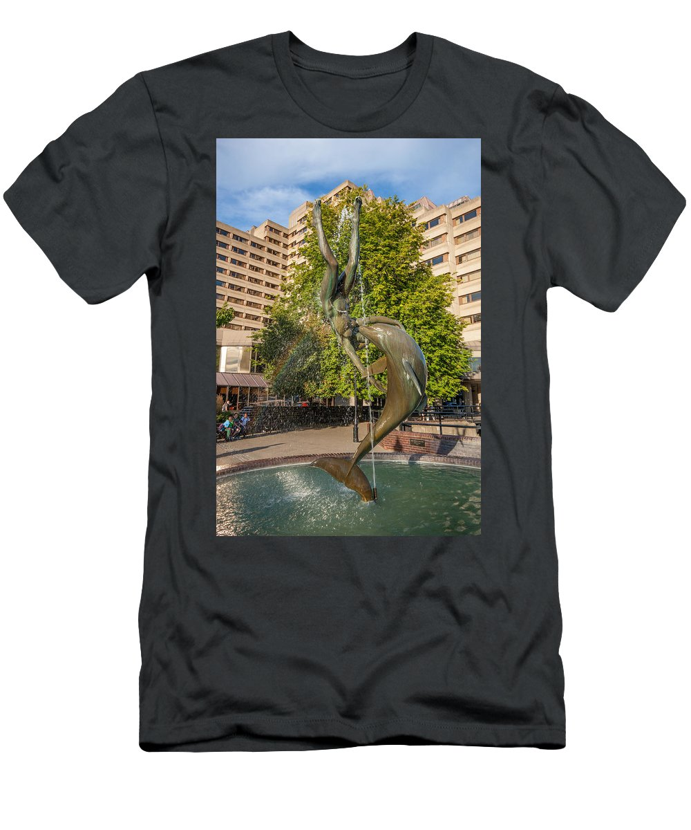 Girl Men's T-Shirt (Athletic Fit) featuring the photograph Girl With A Dolphin by Dawn OConnor