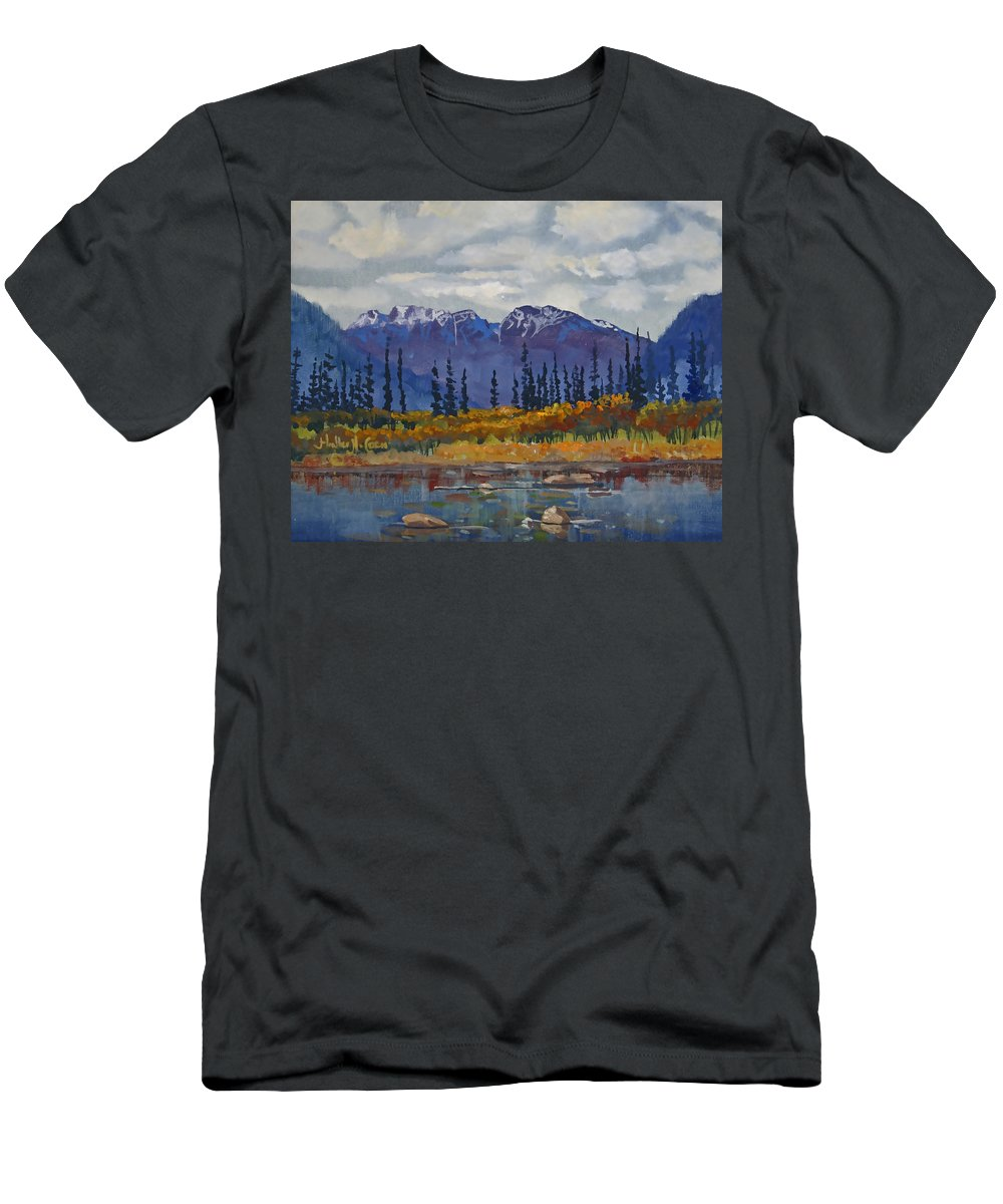 Gold Trails T-Shirt featuring the painting Gold Trails by Heather Coen