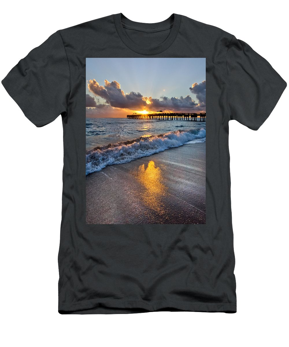 Clouds Men's T-Shirt (Athletic Fit) featuring the photograph Golden Shadows by Debra and Dave Vanderlaan
