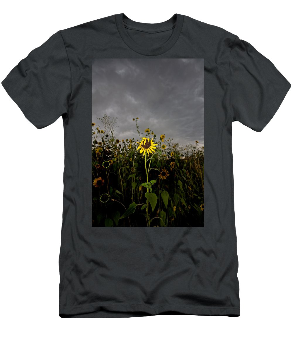 Clouds Men's T-Shirt (Athletic Fit) featuring the photograph Goth Sunflower by Peter Tellone