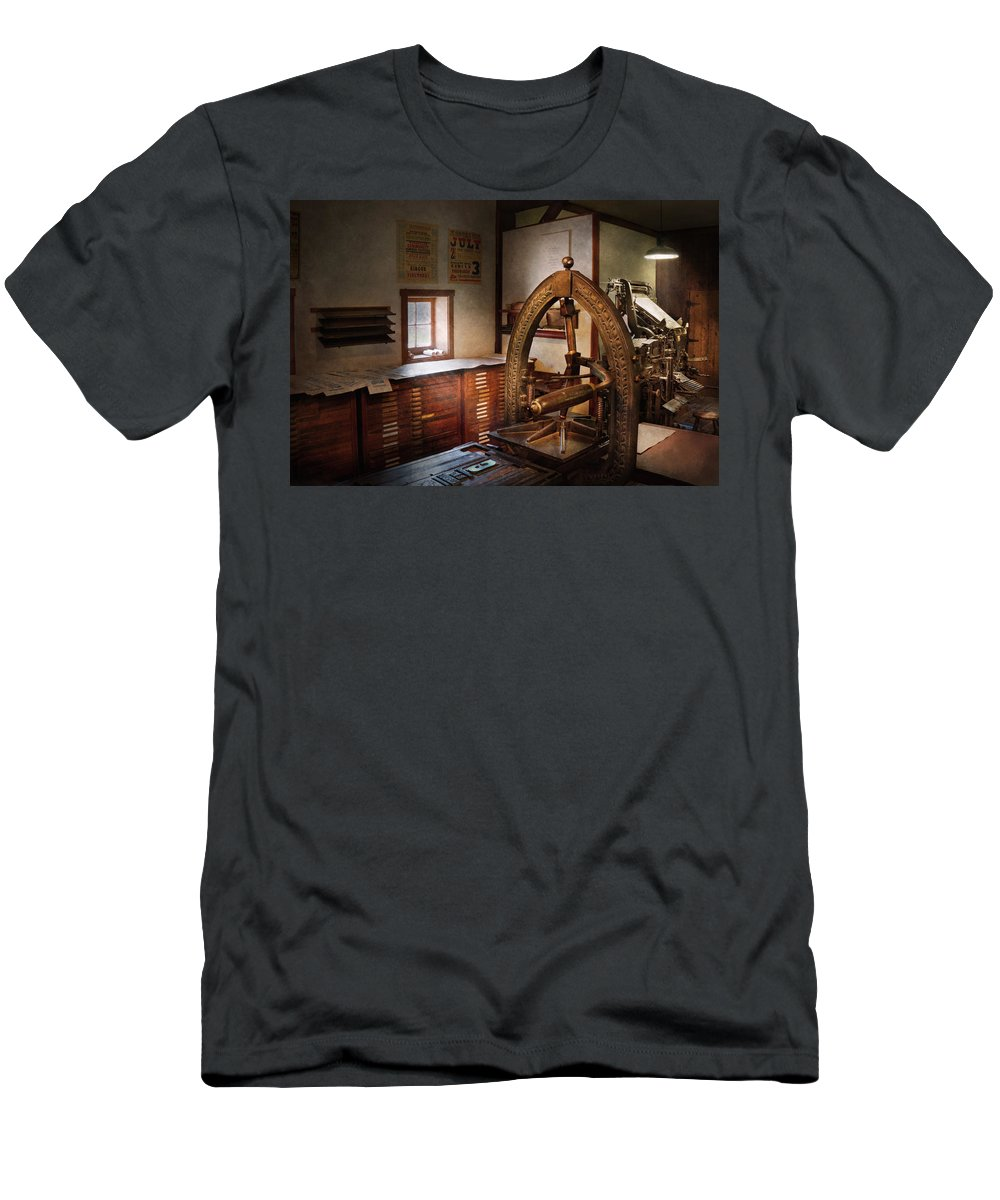 Hdr Men's T-Shirt (Athletic Fit) featuring the photograph Graphic Artist - Graphic Workshop by Mike Savad