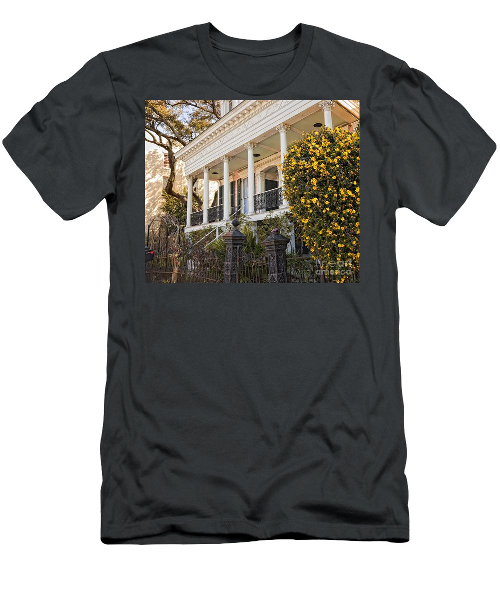 Greek Men's T-Shirt (Athletic Fit) featuring the photograph Greek Revival And The Tiny Pink Shoe - Garden District New Orleans by Kathleen K Parker