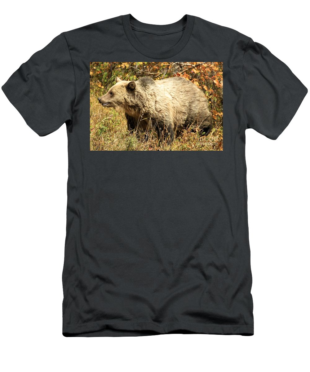 Grizzly Bear Men's T-Shirt (Athletic Fit) featuring the photograph Grizzly Camouflage by Adam Jewell