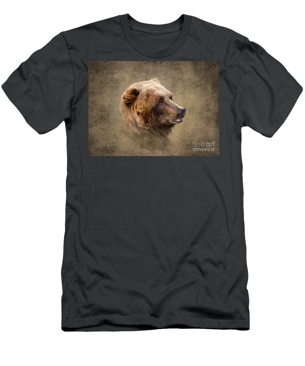 Bear Men's T-Shirt (Athletic Fit) featuring the photograph Grizzly Portrait by Betty LaRue