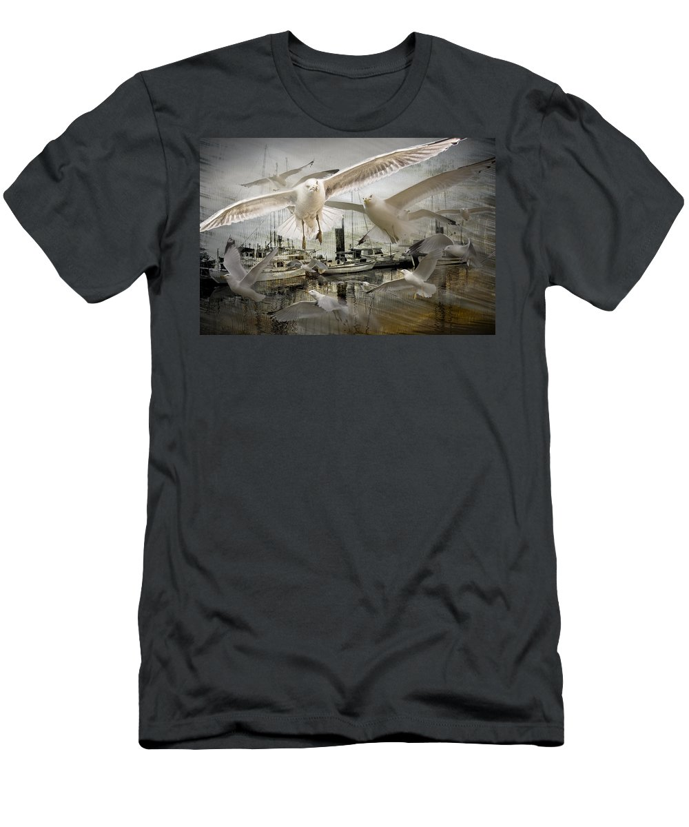 Art Men's T-Shirt (Athletic Fit) featuring the photograph Gulls In The Harbor by Randall Nyhof