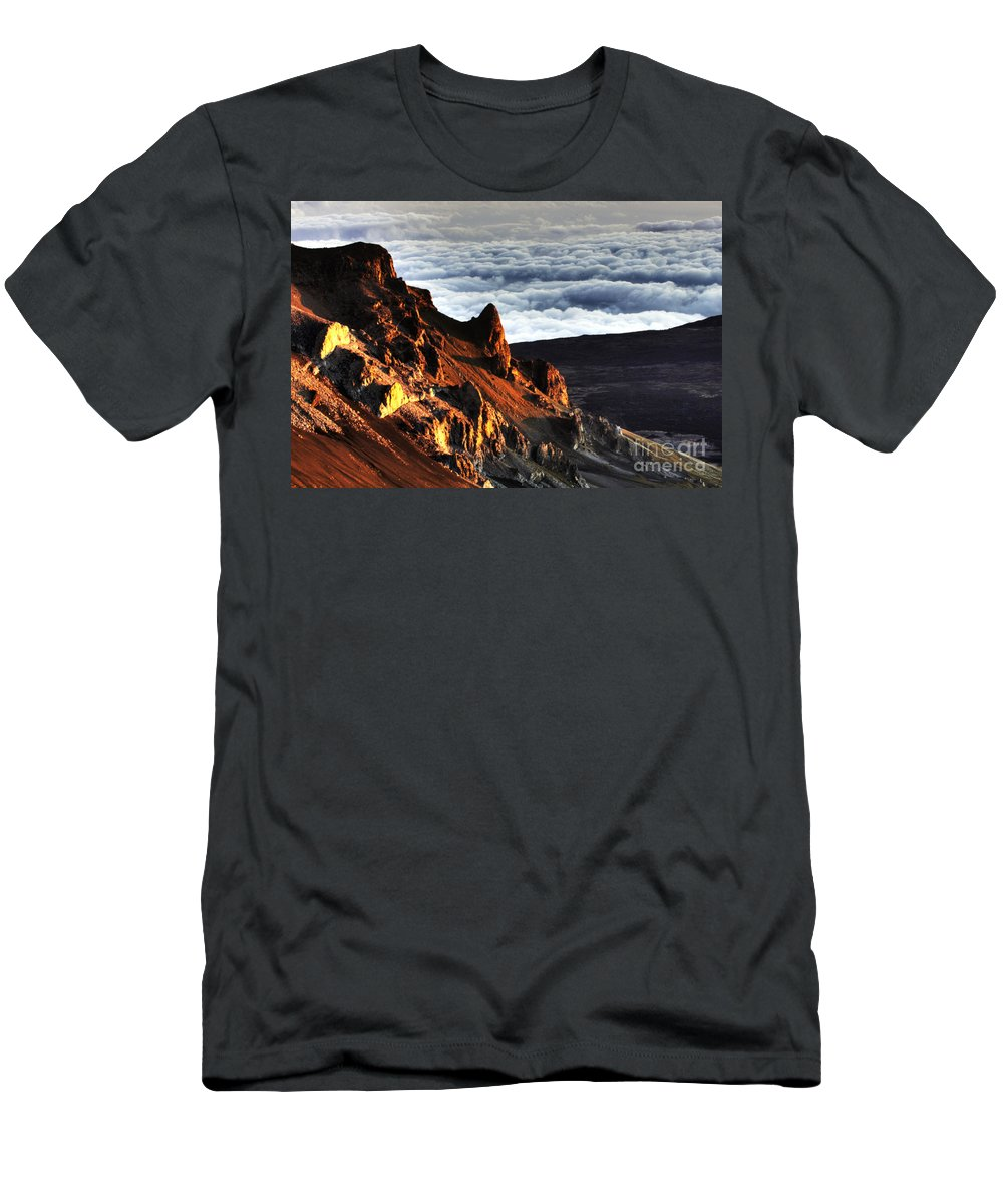Clouds Men's T-Shirt (Athletic Fit) featuring the photograph Haleakala Morning Cloud by Bob Christopher