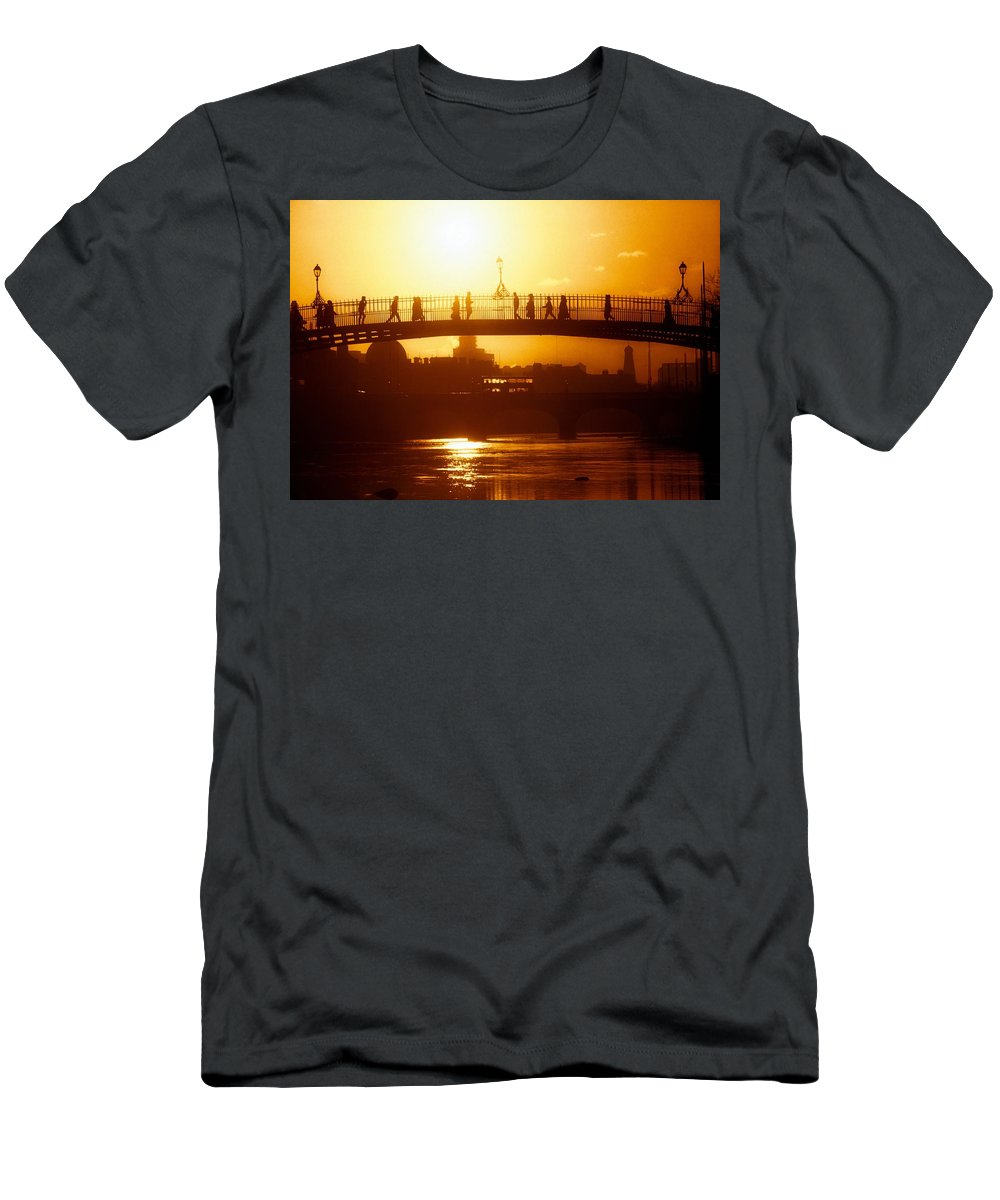 19th Century Men's T-Shirt (Athletic Fit) featuring the photograph Hapenny Bridge Over River Liffey River by The Irish Image Collection