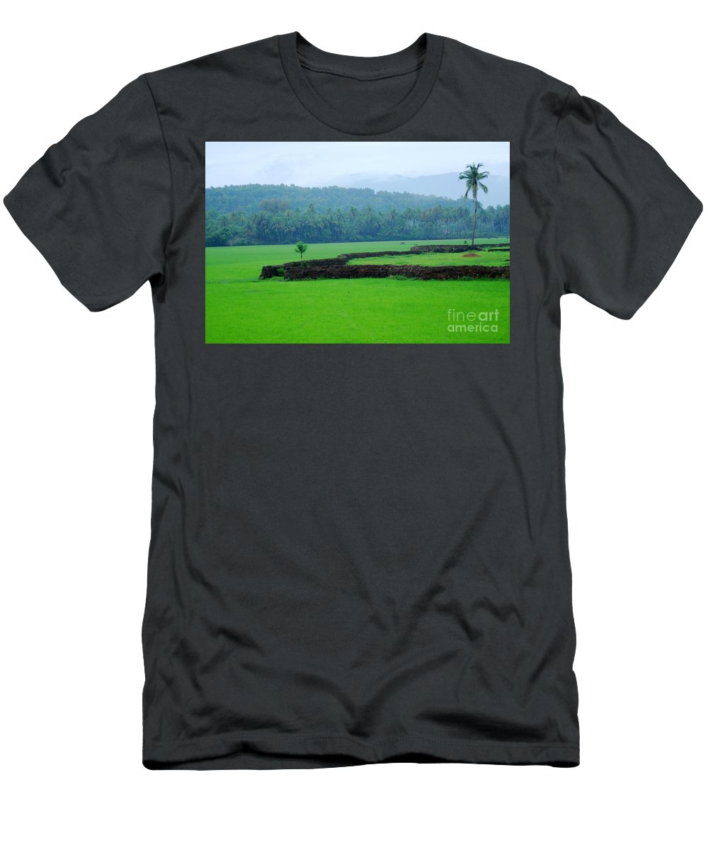 Green Men's T-Shirt (Athletic Fit) featuring the photograph Happy Alone by Dattaram Gawade