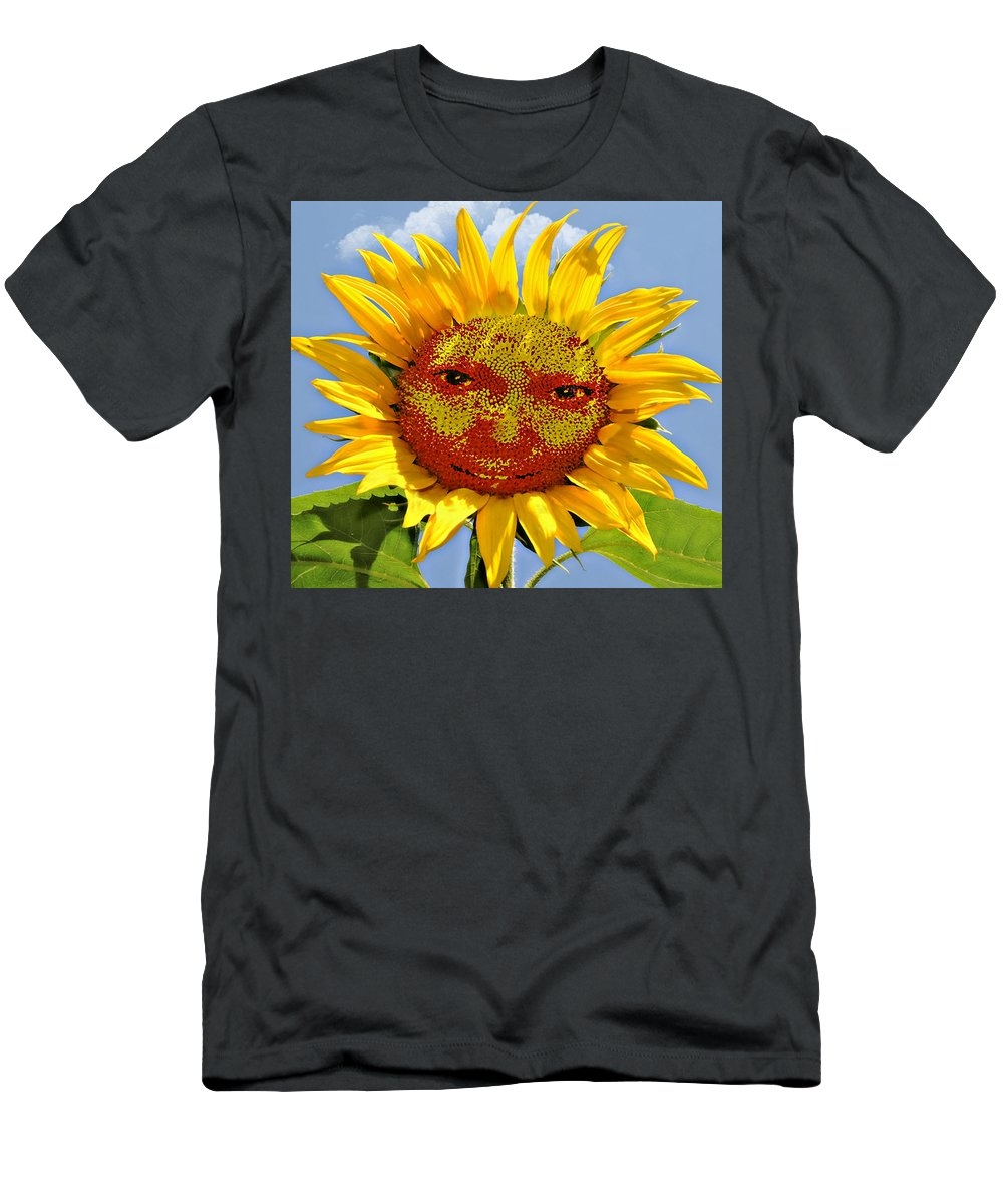 Funny Men's T-Shirt (Athletic Fit) featuring the photograph Happy Sunflower by Susan Leggett