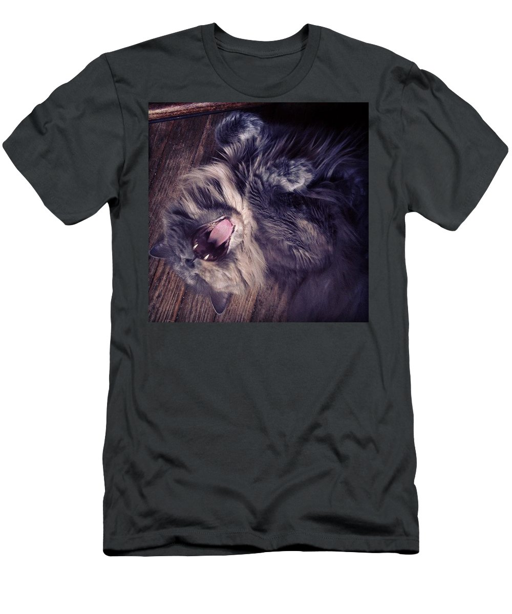 Fangs Men's T-Shirt (Slim Fit) featuring the photograph Has #fangs. Not Afraid To Use 'em by Katie Cupcakes