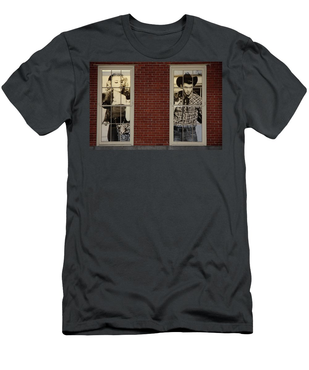 South Street Men's T-Shirt (Athletic Fit) featuring the photograph Have You Two Met by Terry Wallace