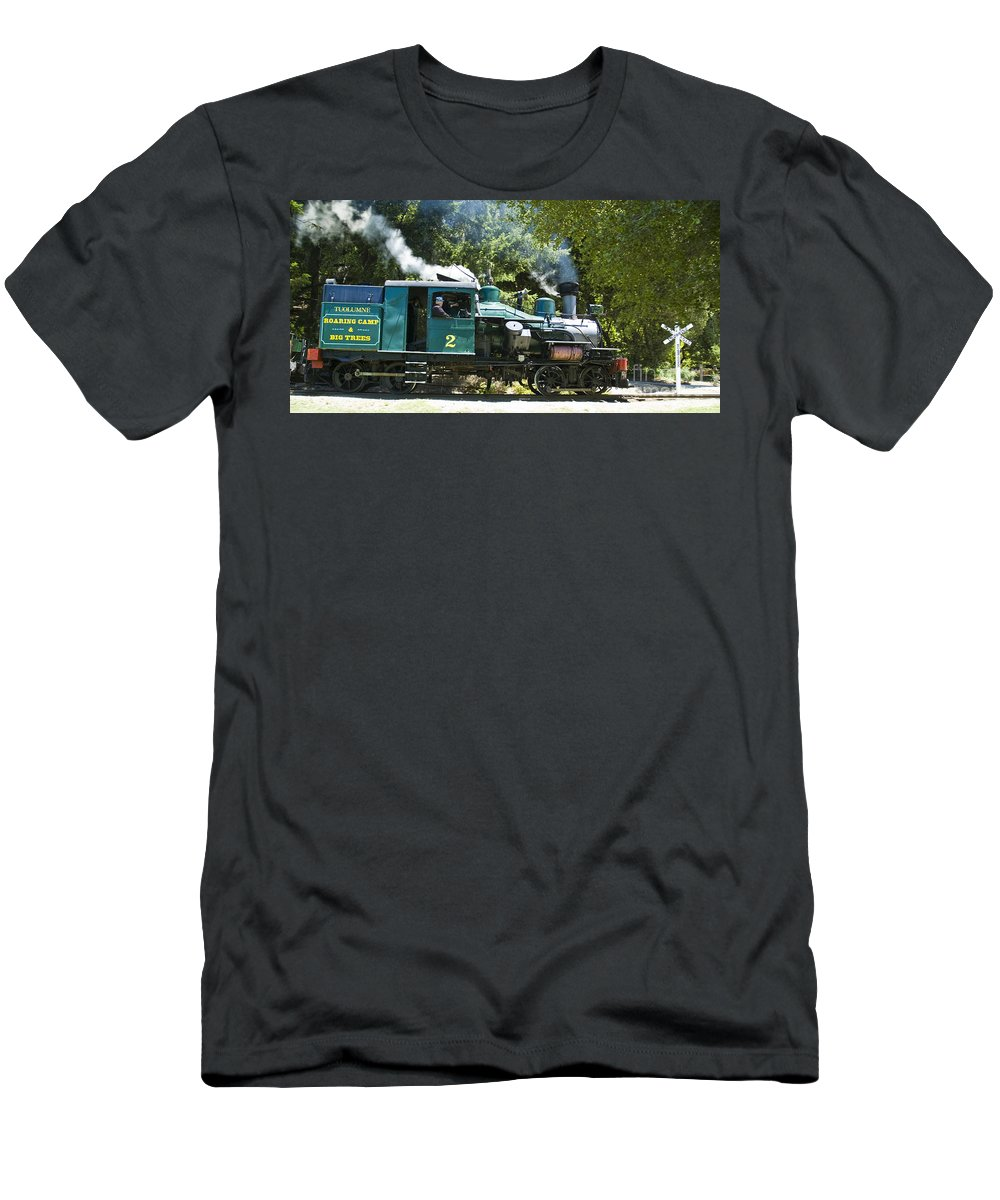 Roaring Camp & Big Trees Men's T-Shirt (Athletic Fit) featuring the photograph Heisler Steaming by Tim Mulina