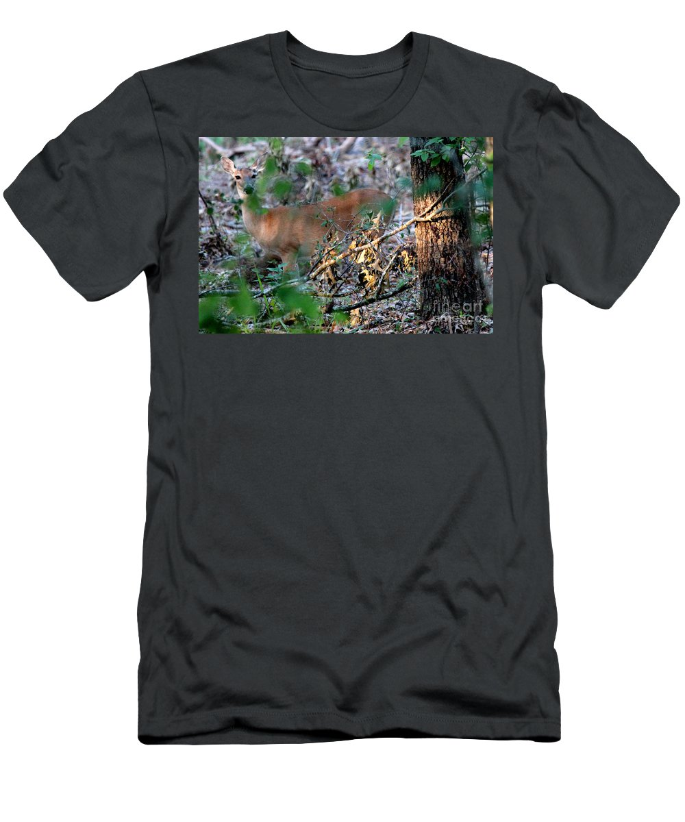 Deer Men's T-Shirt (Athletic Fit) featuring the photograph Hiding Out by Kathy White