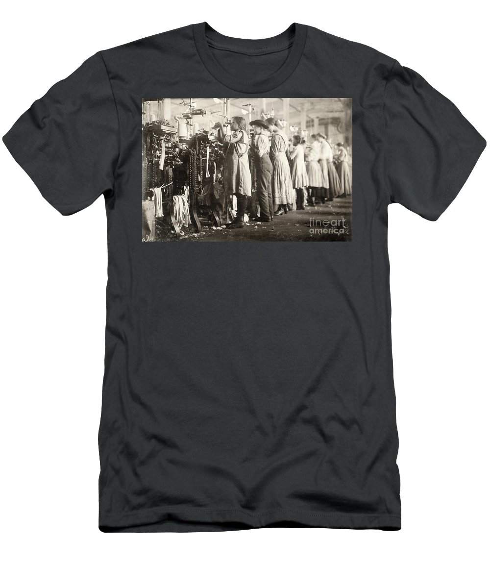 1910 Men's T-Shirt (Athletic Fit) featuring the photograph Hine: Child Labor, 1910 by Granger