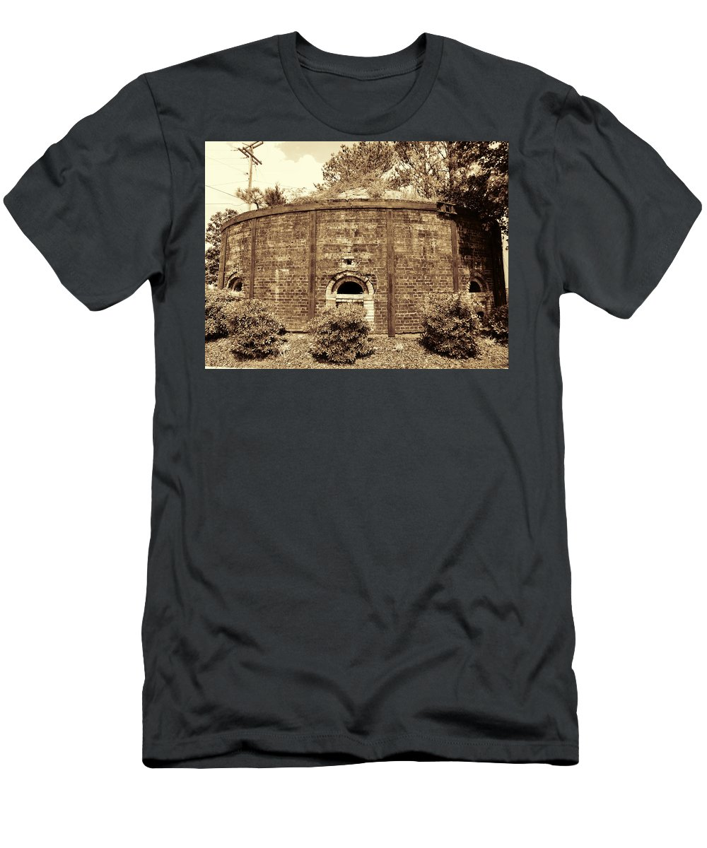 Brick Kiln Men's T-Shirt (Athletic Fit) featuring the photograph Historical Antique Brick Firing Kiln Decatur Alabama Usa by Kathy Clark