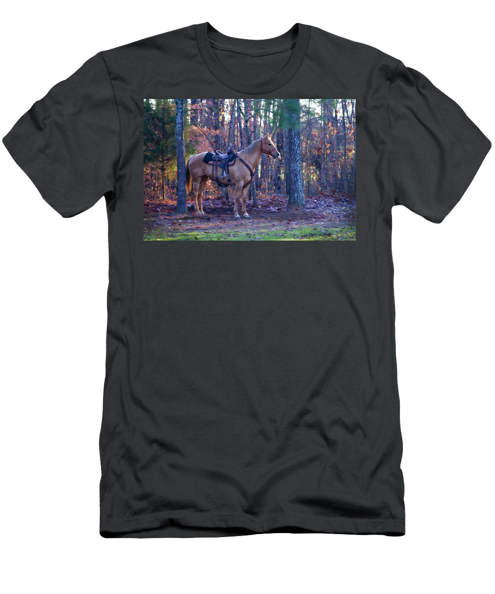 Horse Men's T-Shirt (Athletic Fit) featuring the photograph Horse Waiting For Rider by Kathy Clark