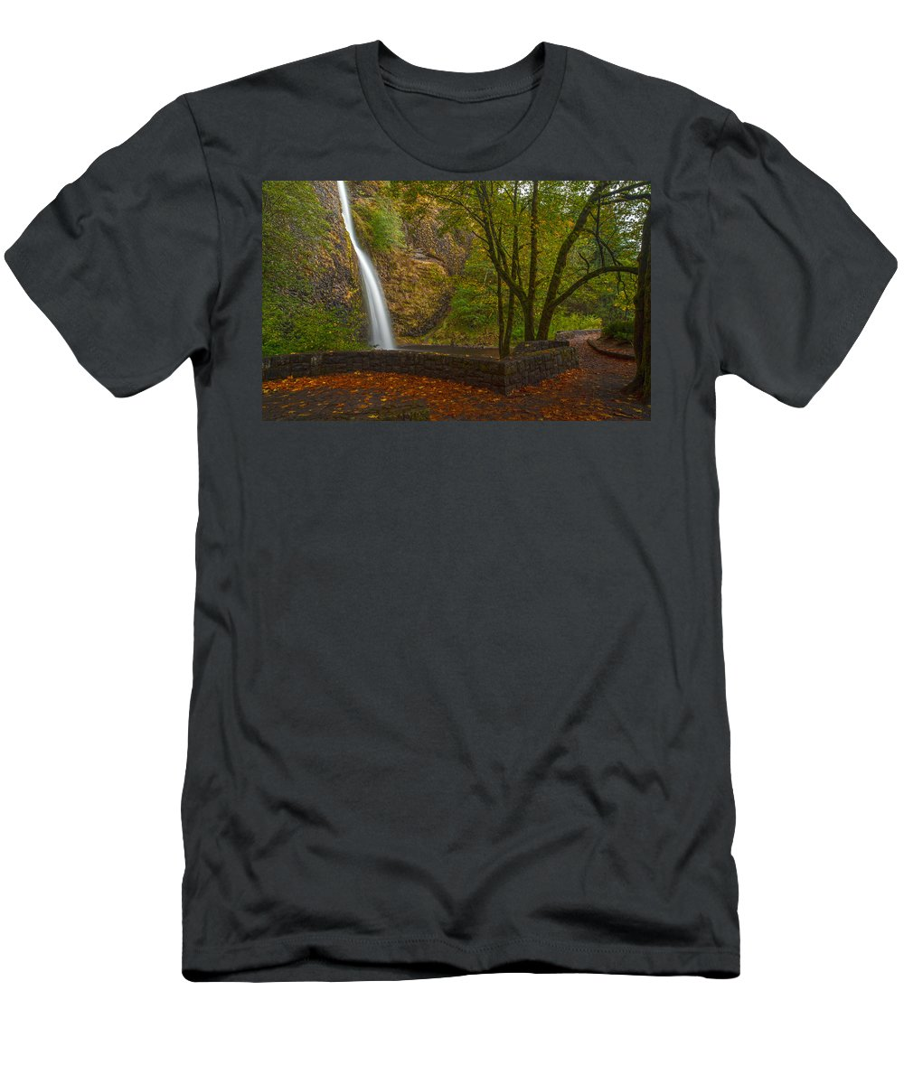 Creek Men's T-Shirt (Athletic Fit) featuring the photograph Horsetail Falls by Mike Reid
