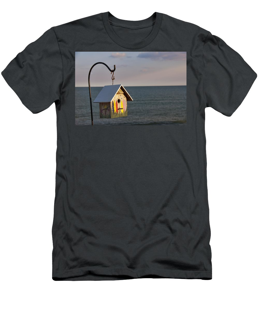 Birdhouse Men's T-Shirt (Athletic Fit) featuring the photograph House By The Sea by David Arment