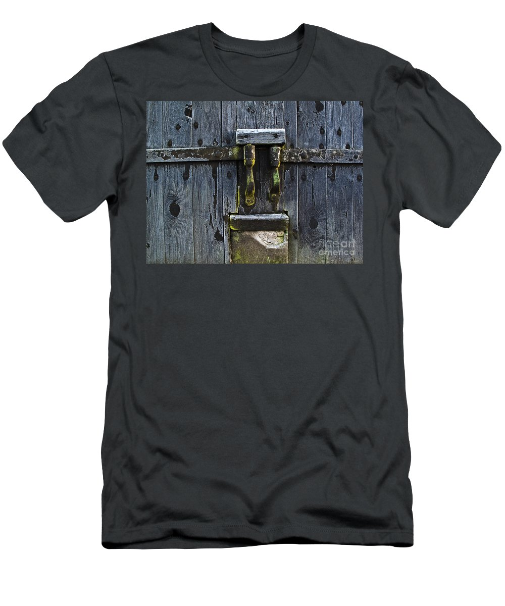 Door Men's T-Shirt (Athletic Fit) featuring the photograph Ice Crystals On Wooden Gate by Heiko Koehrer-Wagner