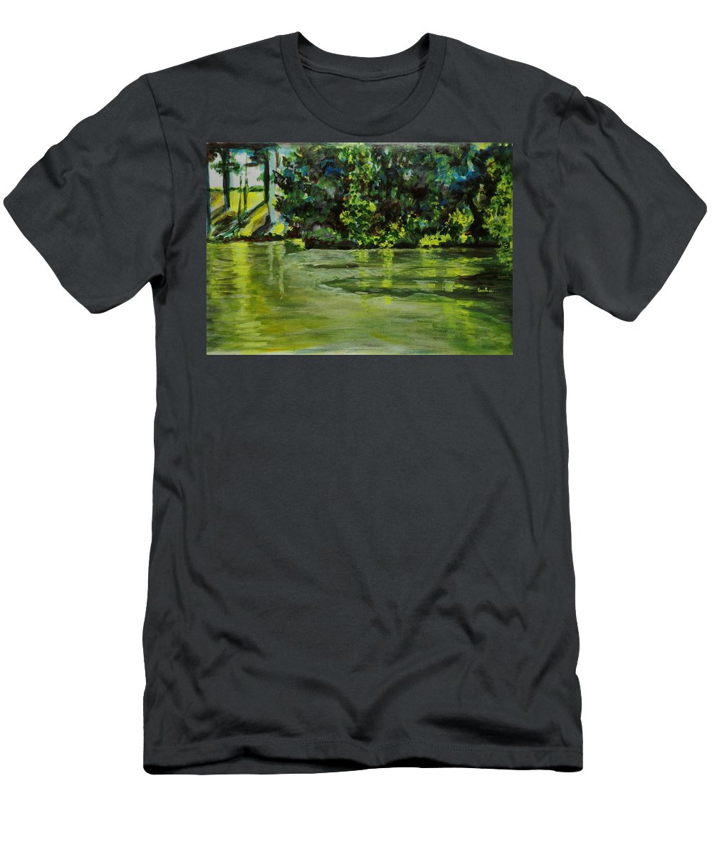 Abstract Men's T-Shirt (Athletic Fit) featuring the painting Impressions Of Ooty Lake 1 by Usha Shantharam