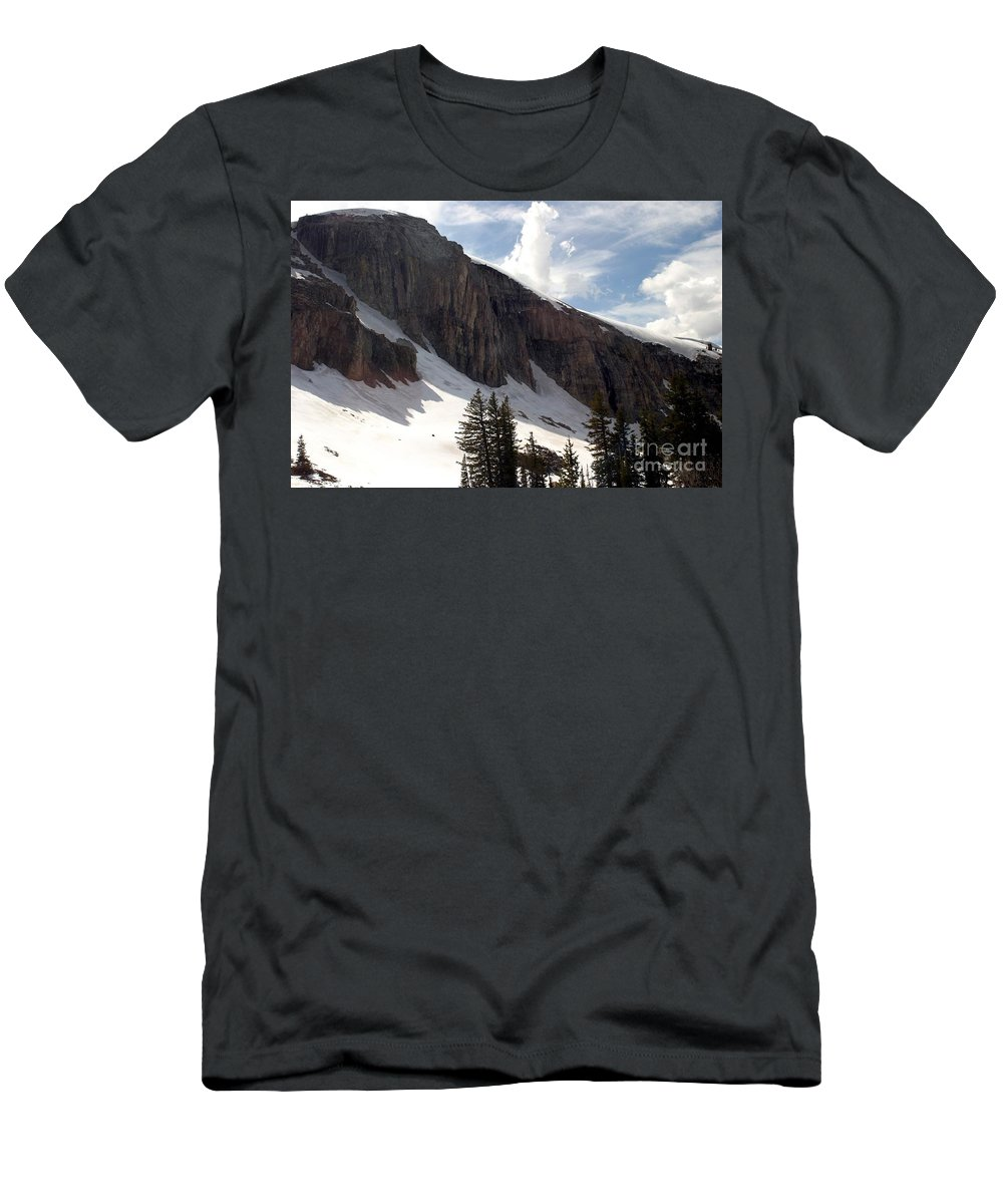 Rendezvous Mountain Men's T-Shirt (Athletic Fit) featuring the photograph Inhaling Clouds by Living Color Photography Lorraine Lynch