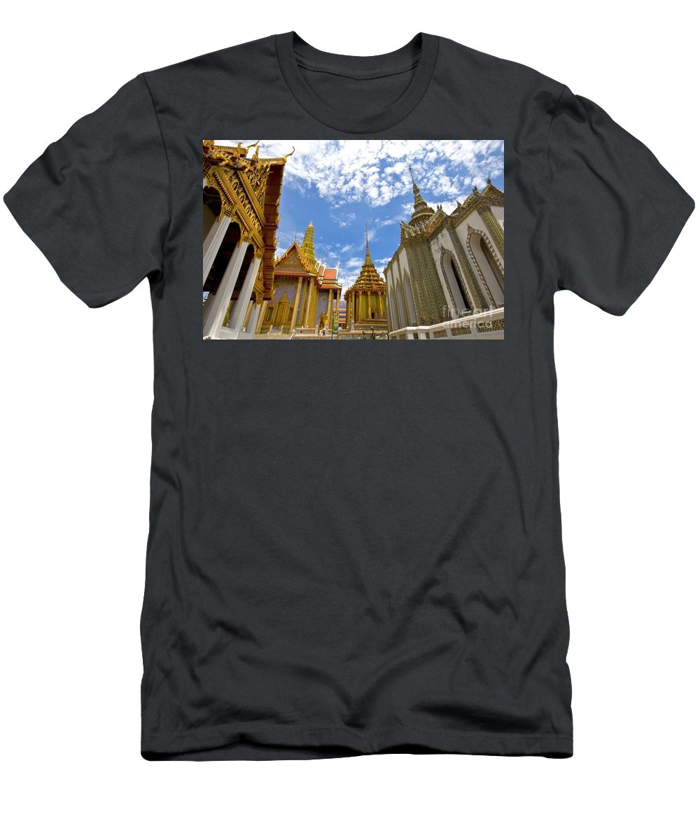Architecture Men's T-Shirt (Athletic Fit) featuring the photograph Inside The Grand Palace Bangkok by Charuhas Images