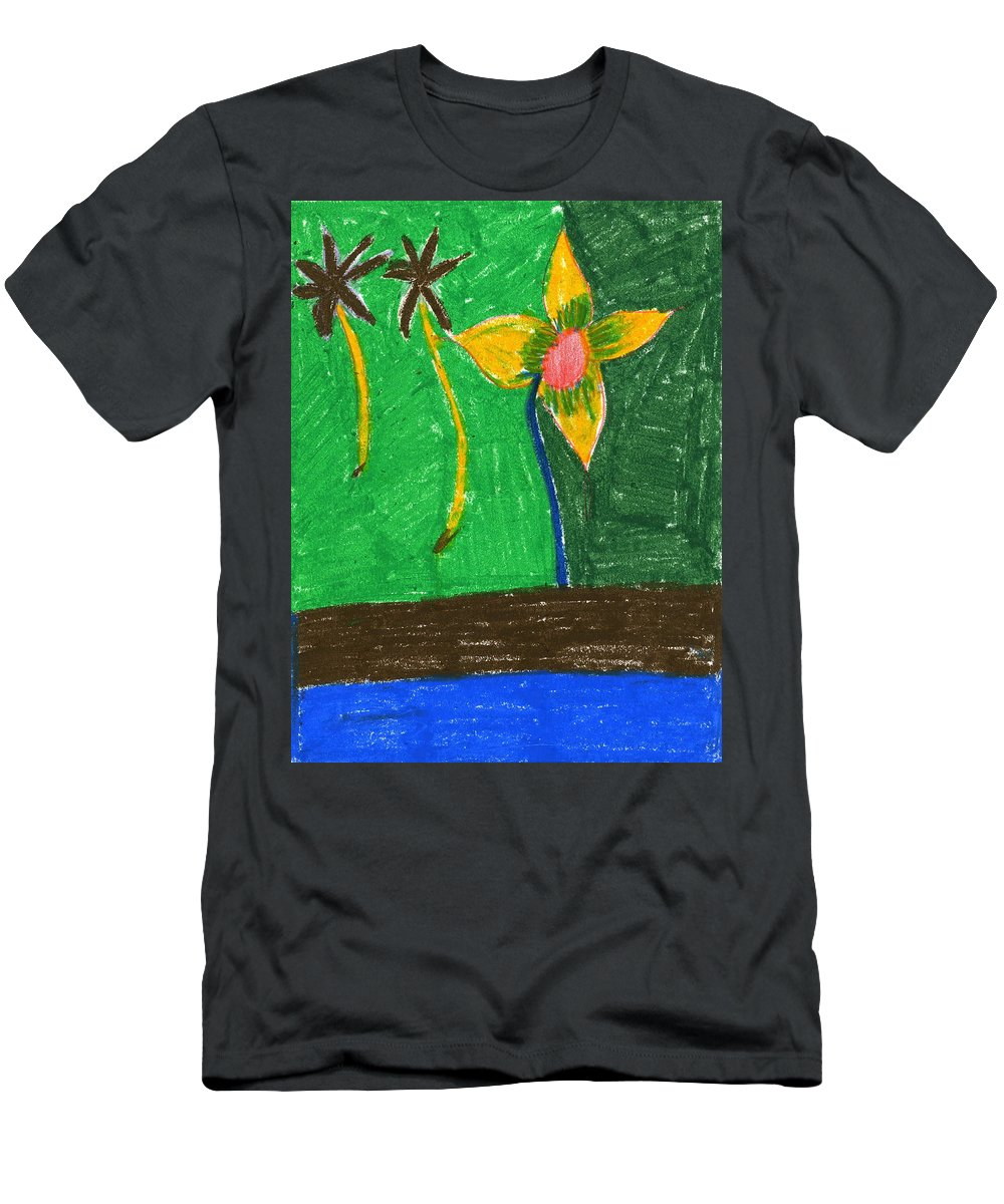 Island Flower Men's T-Shirt (Athletic Fit) featuring the painting Island Flower by Taylor Webb